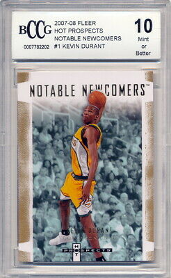149385ad87d 2007-08 Fleer Hot Prospects Newcomers Kevin Durant Rookie Card Graded BCCG  10