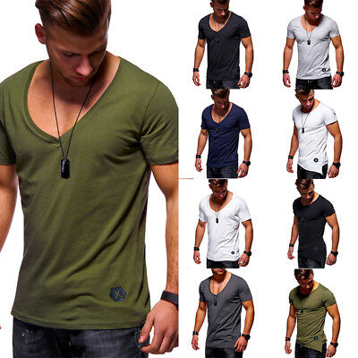 Stylish Men's Crew V Neck Short Sleeve Muscle Tee Casual T-shirt Tops Blouse