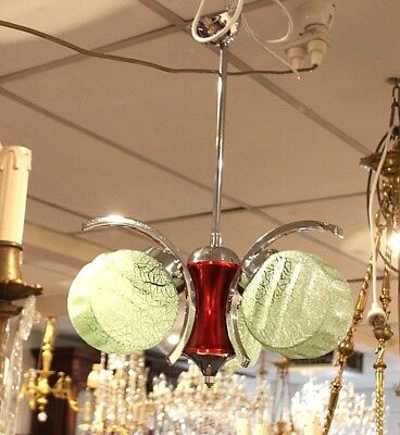 French Art Deco Vintage Light. Extremely Decorative. Original Shades. Rewired