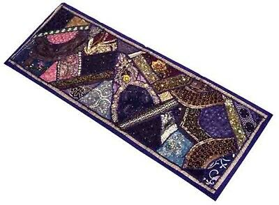 "60"" Rich Vintage Decor Beaded Sequin Sari Wall Hanging Tapestry Throw Runner"