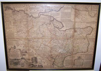 Original Large 1760 EMANUEL BOWEN MAP Of KENT Framed WITH EARLY HAND COLOUR