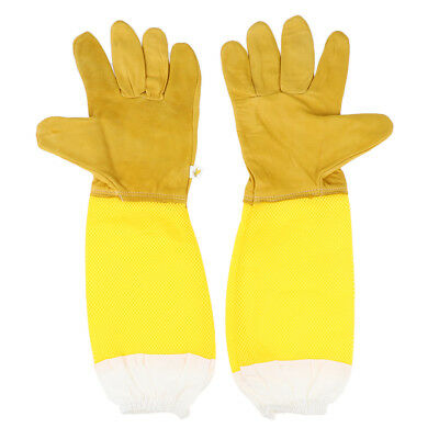 Long Sleeves Beekeeping Protective Gloves - Soft Leather - Bee Gloves Yellow