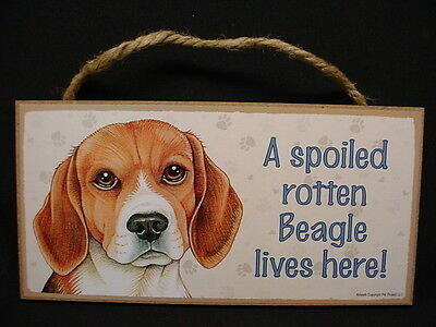 BEAGLE A Spoiled Rotten DOG wood SIGN wooden wall hanging PLAQUE puppy USA MADE