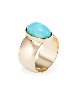 Natural Opal Cigar Wide Band Ring Vintage 14k Yellow Gold Estate Fine Jewelry