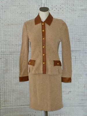 St John Collection Marie Gray Chenille Knit~Leather Trim~Jacket Skirt Suit 4/6=S