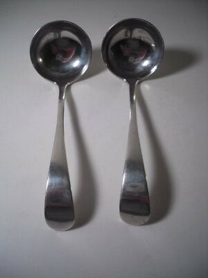 A Pair of Antique Silver Georgian Style Sauce Ladles: Sheffield 1906