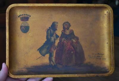 Circa 1888 Gilded Wood Tray With Hand Painted Royal Crest And Royal Couple
