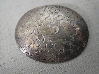 Large Sterling Silver Oval Brooch Fancy Scrolling Etched Floral Design 13 Grams