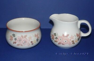 BOOTS Hedge Rose * Pottery Milk Jug / Creamer & Sugar Bowl *