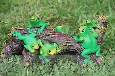 Frogs on log ornament concrete cement plaster latex moulds molds