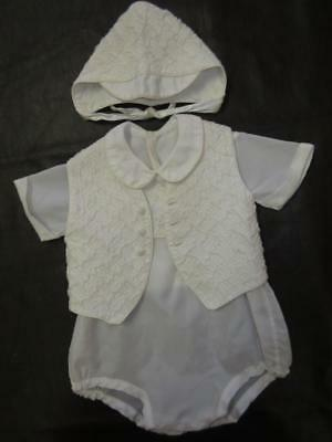 3pc Vtg 70s BABY BOY WHITE NYLON ROMPER PLAYSUIT Quilted Yoke Bonnet Brim Hat