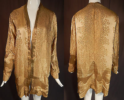 Vintage Art Deco Applique Patchwork Pattern Gold Lamé Lame Flapper Coat Jacket