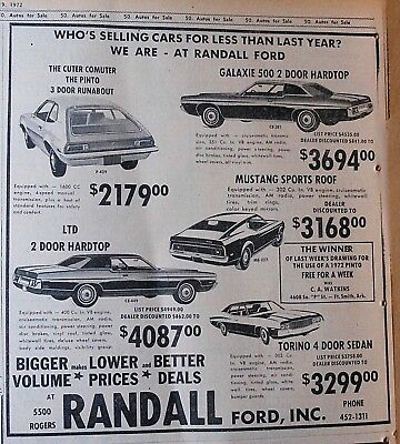 1972 newspaper ad for Ford -  5 models, Pinto, LTD, Galaxie, Torino, Mustang