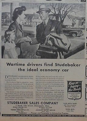 1944 newspaper ad for Studebaker, WW2 ad, Wartime drivers find ideal economy car