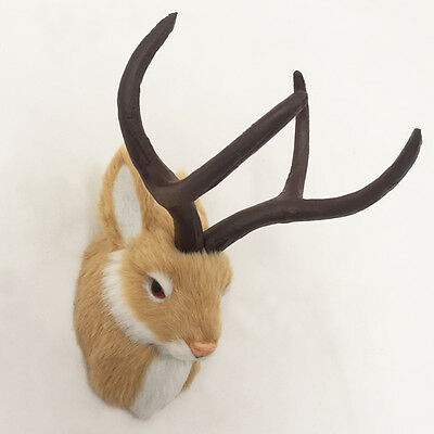 Brown JACKALOPE Head Mount Rabbit Realistic Animal Figurine Cabin Decoration