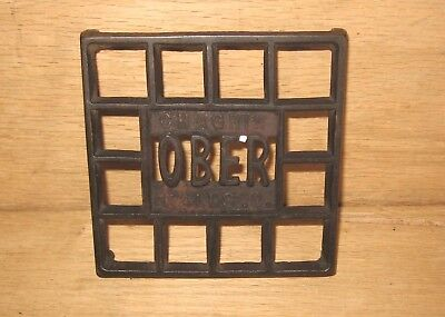 "Antique OBER Cast Iron 4 1/2"" Square Trivet Chagrin Falls Ohio"