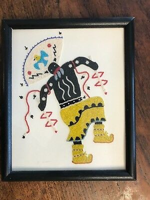 "Monica Lupe Hand Set Beads Work Of Art Apache Dancer 93  Framed  11"" X 9"""