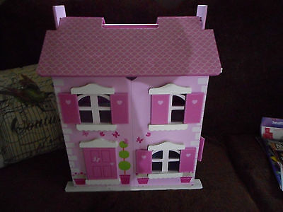 new dolls house with 2 floors with window openable shutters & furniture