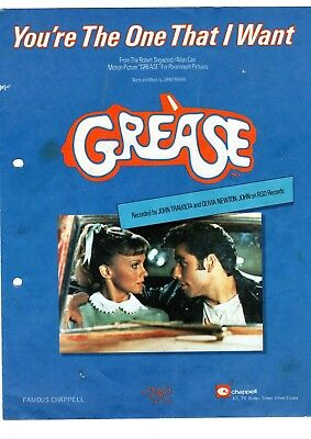 You're The One That I Want Grease Original Sheet Music Tablature 1978 Printed GB