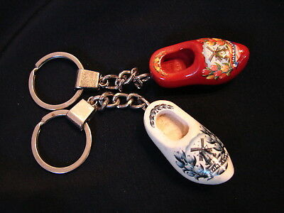Nice Vintage PAIR Miniature Wooden Shoes Keychains Souvenir of Holland