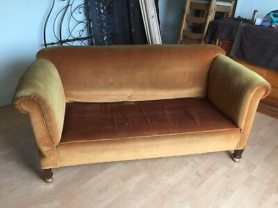 Vintage/antique Straw Filled Drop Arm Sofa Finished In gold/mustard Yellow