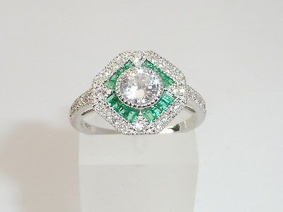 Ladies Art Deco Halo Style 925 Sterling Silver White Sapphire & Emerald Ring