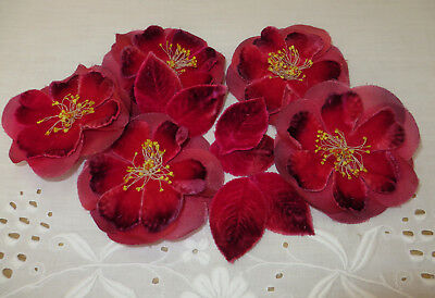 Pretty Vintage Pink Roses x5 Velvet Hat Flowers & Leaves Millinery Artificial