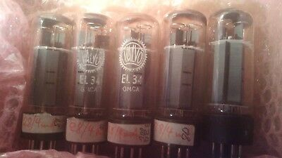 EL34 Valvo brown basse oo getter 5 tubes top test 80-100%
