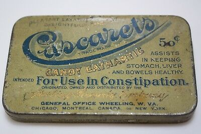 Vintage Quack Medicine Antique Tin CASCARETS Cure Chronic Constipation 50c Empty