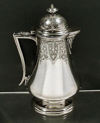 """Ball, Black & Co. Sterling Syrup Pitcher      c1875 N.Y.      """"HAND DECORATED"""""""