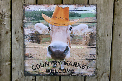 COW CANVAS WALL PLAQUE METAL HAT FARM HOME DECOR 16 in. square new Western Decor