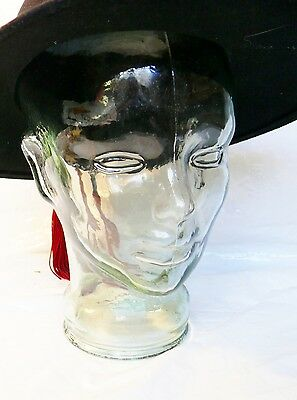 Vintage Green Glass Mannequin Head Bust Made in Spain Hat Wig Store Display EUC