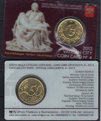 Vatican 2013 Pieta by Michelangelo Saint Peter Basilica Coin Card 50 Euro-cents