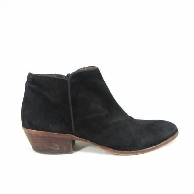 dd102e656 7.5 - SAM EDELMAN Black Suede Leather Low Side Zip PETTY Ankle Boots 0000MB