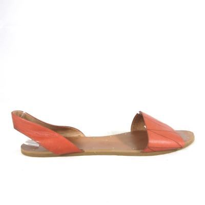 be1e9dc6528 8.5 - MADEWELL Rust Brown Etched Zig Zag Leather ABBI Slingback Sandals  0000MB