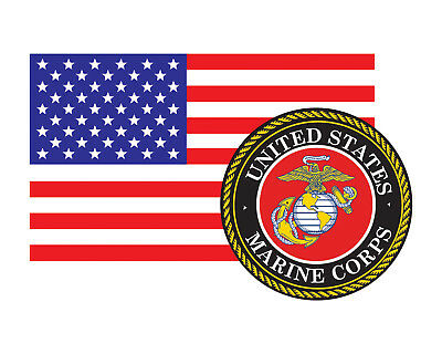 American Flag with Marine Corps Seal USMC Vinyl Decal Sticker for Cars Truck etc