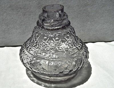 """Antique 1870 ? Sun-Purpled & Crude Pattern Embossed """"shear Top"""" Ink Well Bottle"""
