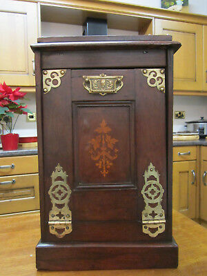 Old Antique Victorian Walnut and Brass Cabinet Coal Box Magazine Holder c1880