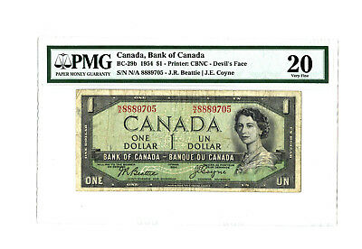 1954 $1 CANADA PMG 20 DEVIL'S FACE BC-29b BANKNOTE SERIAL # N/A 8889705