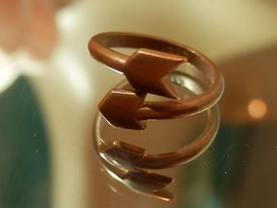 Vintage 70's Adjustable Size Copper Arrow Neat Sarah Signed XX Fun Ring  253my8