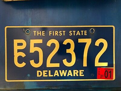 Vintage DELAWARE License Plate PC 52372 The First State blue and gold