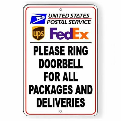 Ring Doorbell For All Packages And Deliveries Sign METAL 3 SIZES usps ups SI093