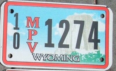 WYOMING  Motorcycle Cycle Style MPV License plate  10 1274   ^
