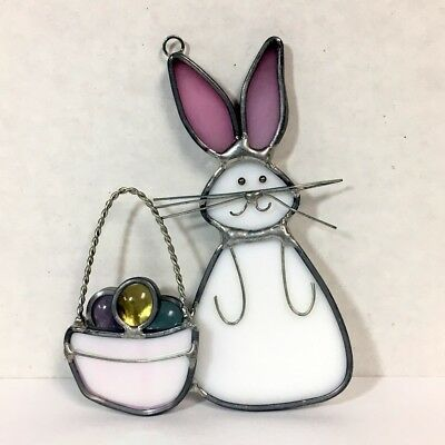Hand Made Stained Glass Suncatcher Easter Bunny & Basket