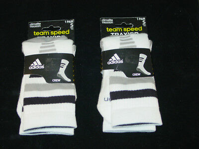 Adidas Team Speed Traxion Climalite Crew Socks 2 Pairs Women Small Size 5-6.5