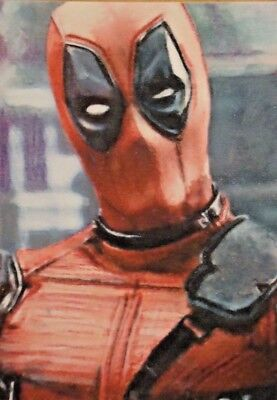 Original Deadpool marvel aceo sketch card watercolour painting Signed