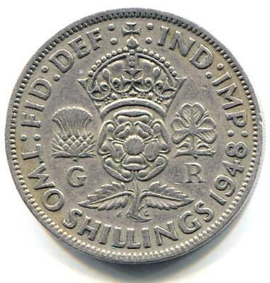 Great Britain 1948 Two Shilling Coin United Kingdom England - King George VI