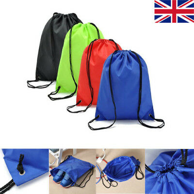Thicken Waterproof Drawstring Backpack Cinch Sack String Bag Gym School Sport Br