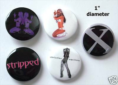 Christina Aguilera! Stripped Images Pin Button Set New