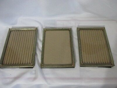 Lot Of 3 Vintage Ornate Metal Picture Frame for 5X7 Photo w/Glass &  Easel Backs